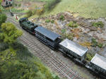 Green train with trucks